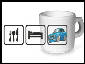 Koolart EAT SLEEP Design For Retro Mk1 Ford Escort Mexico - Ceramic Tea Or Coffee Mug